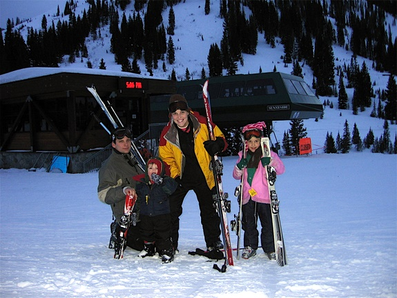 skiing with kids  for the first time