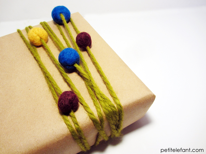 wrapping presents with simple felt