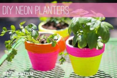 DIY Neon Wrapped Planters