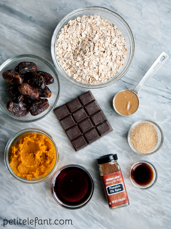 pumpkin chocolate chunk energy bites - ingredients
