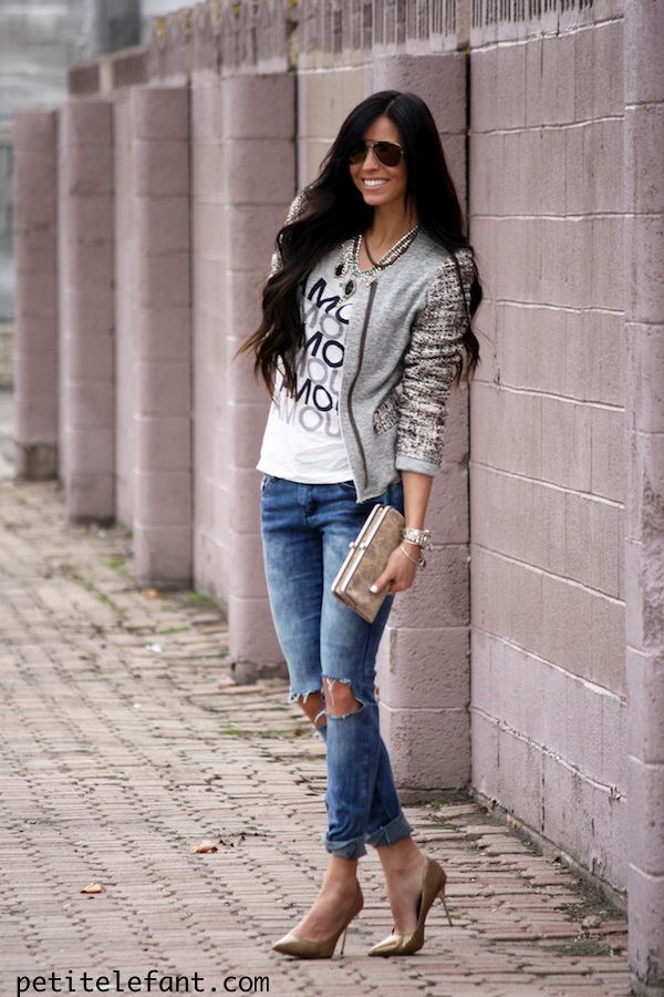 destroyed denim, ripped jeans, jcrew, basic tee, jacket, fashion, blogger, how to, comfy, casual, chic