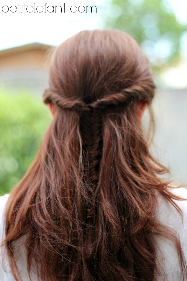 Fish tail braid half up
