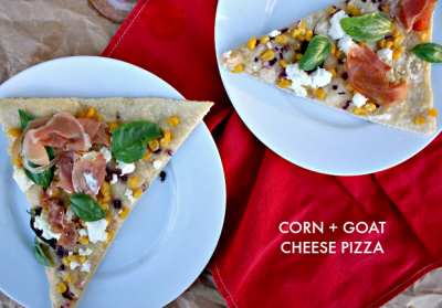 corn + goat cheese pizza