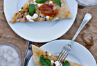 homemade goat cheese + corn pizza